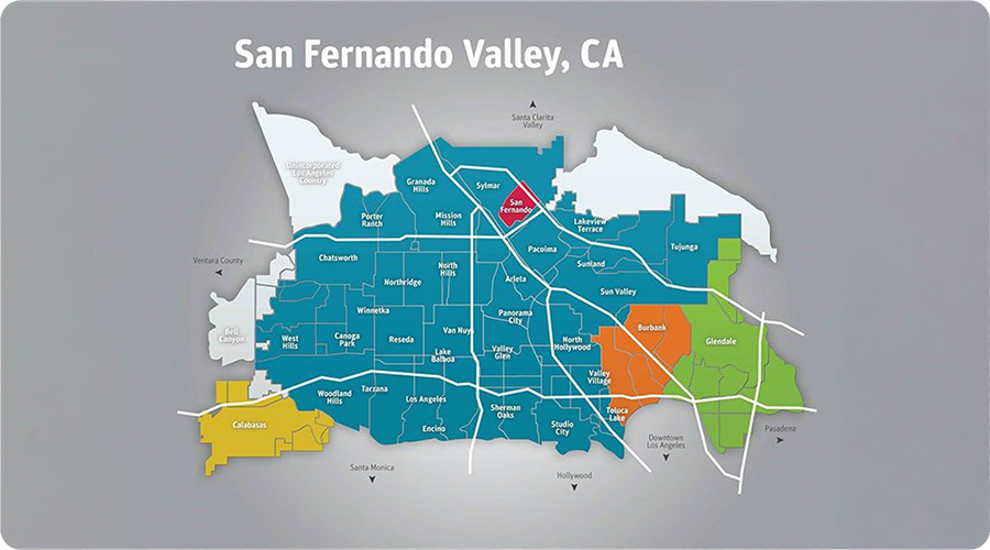 map of the San Fernando Valley showing freeways and neighborhoods